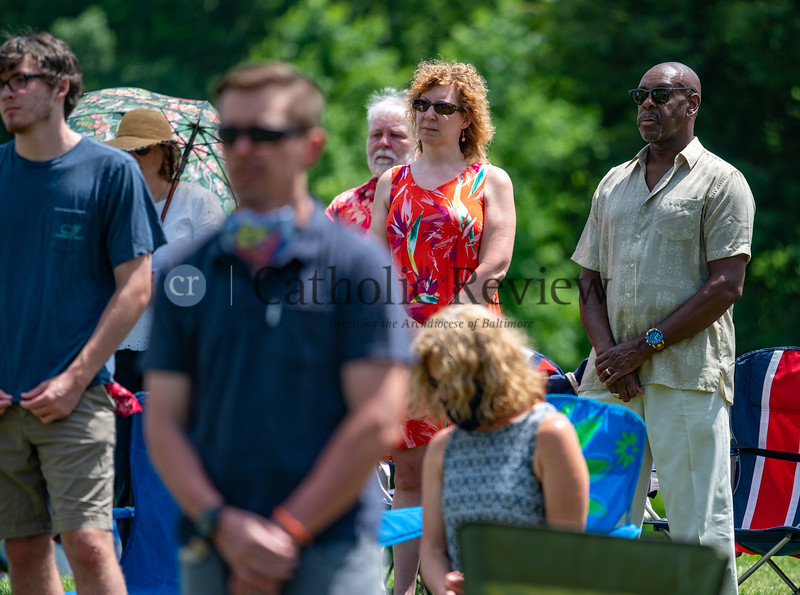 Tony Staten, right, and Christina Staten were among nearly 300 parishioners attending the 11 am outdoor Mass June 28, 2020 on the grounds of St. Mary Magdalen Mission in Bel Air. (Kevin J. Parks/CR Staff)
