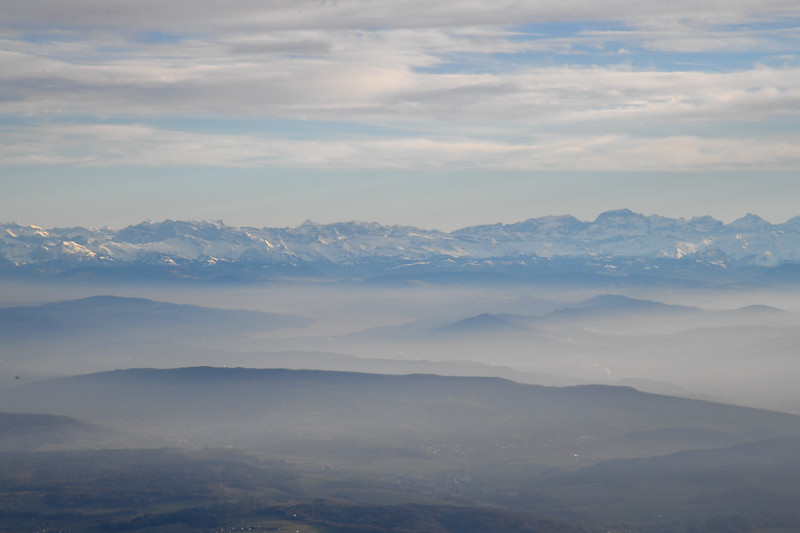 Out the plane window as we prepare to land in Zurich - the Swiss Alps in the distance.