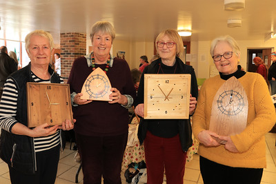 08 FEB 2020 – The St Nicholas Church Clock Fundraising Team pictured L-R: Anna Rendell-Knights, Cathy Offord, Sue Watts and Lavinia Hamer - St Nicholas Church Clock Fund Craft Fair at The 1912 Centre, Harwich – Photo Copyright © Maria Fowler 2020