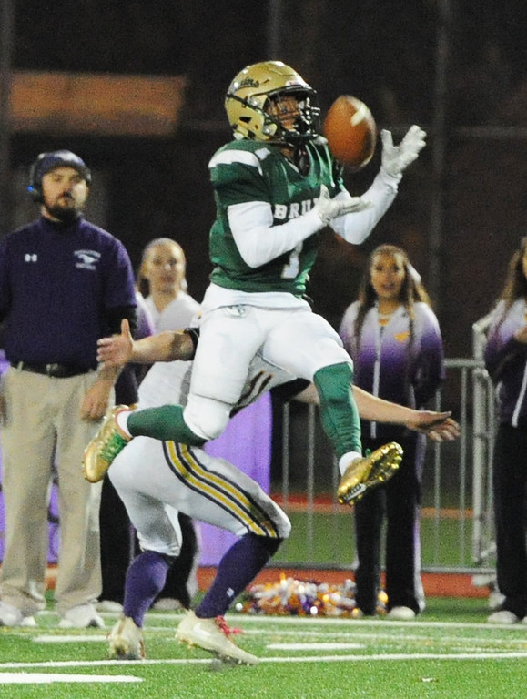 . MARTINEZ, CA- DEC. 2, St. Patrick-St. Vincent\'s Kailon Johnson-loud pulls in an interception during the Bruin\'s 28-0 win over Middletown in the North Coast Section title game on Saturday. (CHRIS RILEY/Times-Herald)