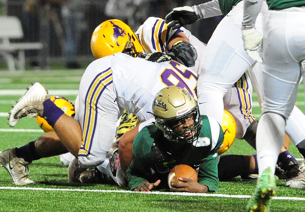 . MARTINEZ, CA- DEC. 2, St. Patrick-St. Vincent\'s Akil Edwards pushes for a first down during the Bruin\'s 28-0 win over Middletown in the North Coast Section title game on Saturday. (CHRIS RILEY/Times-Herald)