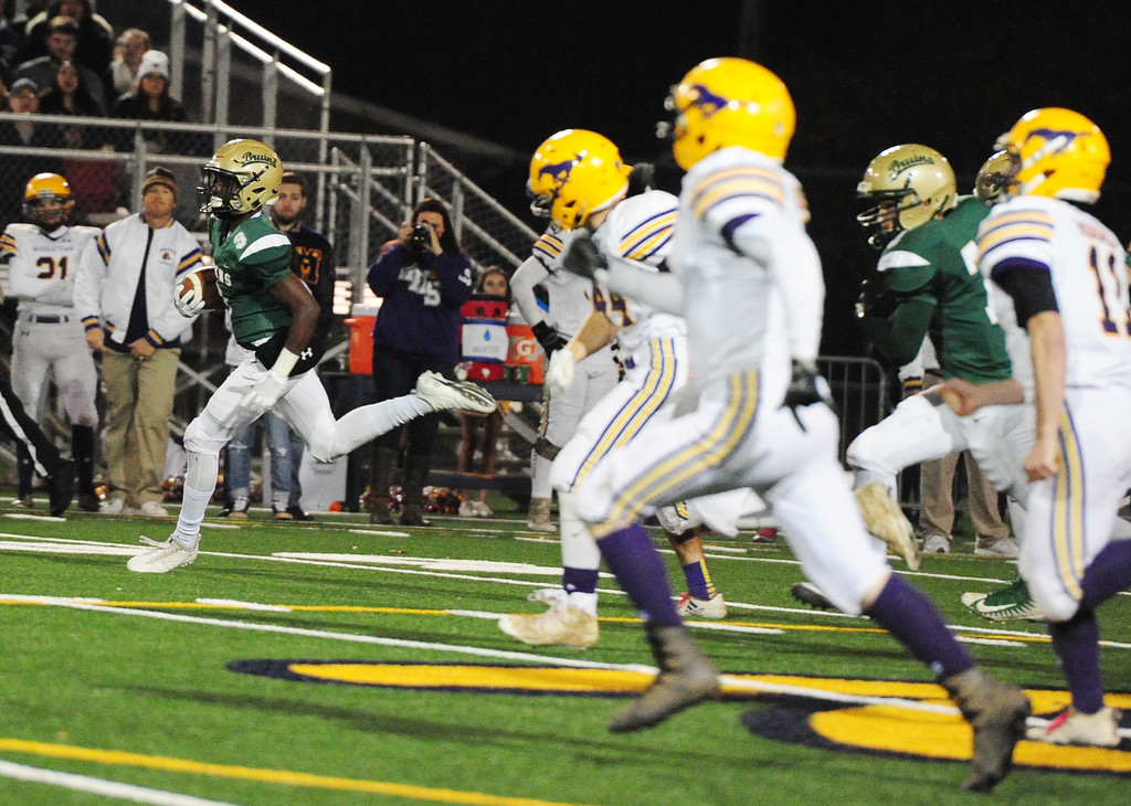 . MARTINEZ, CA- DEC. 2, St. Patrick-St. Vincent\'s Murvin Kenion runs back the opening kickoff for a touchdown during the Bruin\'s 28-0 win over Middletown in the North Coast Section title game on Saturday. (CHRIS RILEY/Times-Herald)