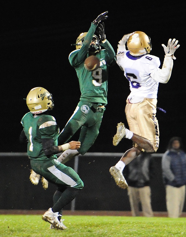 . VALLEJO, CA- NOV. 17, St. Patrick-St. Vincent\'s Charlie Rose breaks up a pass that leads to a Kailon Johnson-loud interception during Friday\'s 52-12 win over Stellar Prep in the quarterfinals of the NCS playoffs in Vallejo.  (Chris Riley/Vallejo Times-Herald)