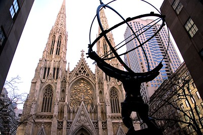 The Statue of Atlas Across 5Th Avenue from the Cathedral