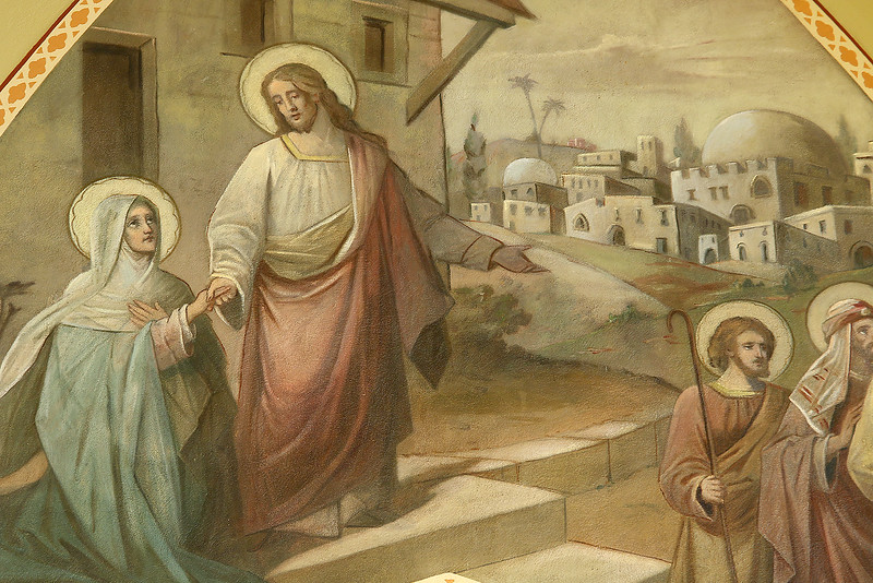 In this mural at St. Patrick's Church in Lowell it depicts Jesus saying goodby to his mother, Mary. It was one of the many that where restored in the renovation of the church. SUN/JOHN LOVE