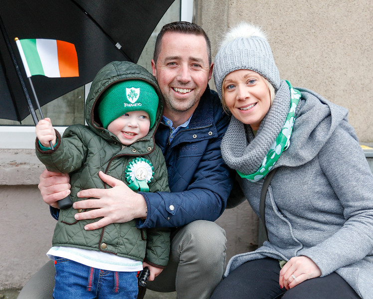 EEXXjob 17/03/2018  SOCIAL St. Patricks parade, Fermoy , County Cork.  At this years annual St. Patrick's day parade in Fermoy County Cork, young Tom O'Regan, Pierce O'Regan and Colette Pratt from Fermoy. Picture Andy Jay