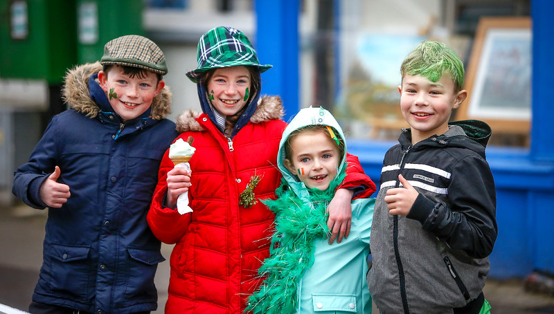 EEXXjob 17/03/2018  SOCIAL St. Patricks parade, Fermoy , County Cork.  At this years annual St. Patrick's day parade in Fermoy County Cork, pictured l-r  James,Eilise, Emma and Daniel from Conna.  Picture Andy Jay
