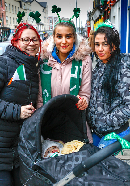 EEXXjob 17/03/2018  SOCIAL St. Patricks parade, Fermoy , County Cork.  At this years annual St. Patrick's day parade in Fermoy County Cork l-r Virgija Nejiene, Gabriele Nejyte, baby Savannah Rose Nejyte and Havilla Agatha from Fermoy. Picture: Andy Jay