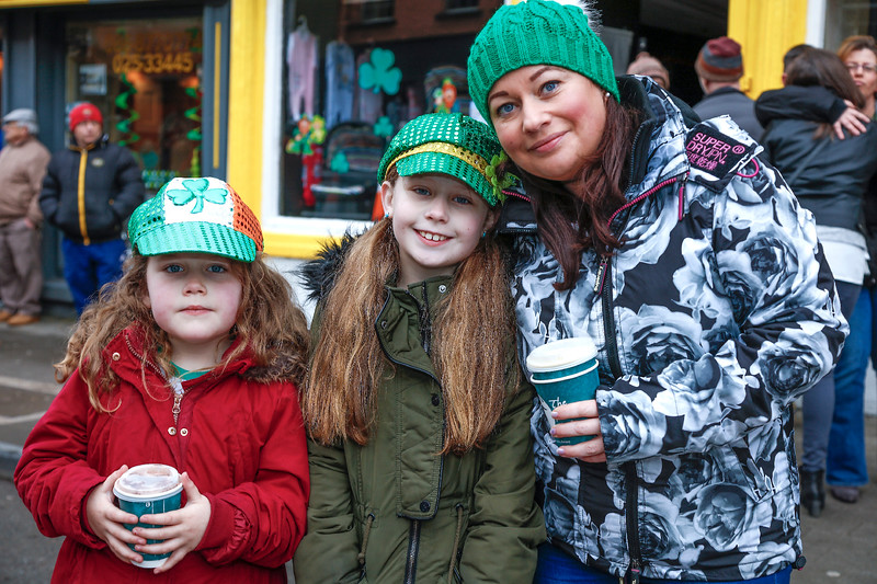 EEXXjob 17/03/2018  SOCIAL St. Patricks parade, Fermoy , County Cork.  Pictured at  this years annual St. Patrick's day parade in Fermoy County Cork Sarah Hackett, Lucy Hackett and Mairead Clancy from Fermoy. Picture Andy Jay