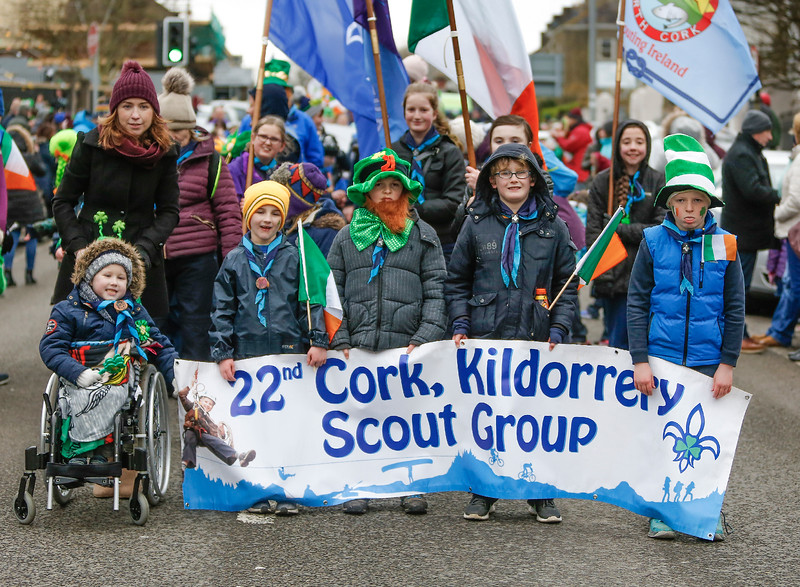 EEXXjob 17/03/2018  SOCIAL St. Patricks parade, Fermoy , County Cork.  Pictured at this years annual St. Patrick's day parade in Fermoy County Cork, The 22nd Cork Kildorrery Scout Group . Picture Andy Jay