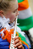 EEXXjob 17/03/2018  SOCIAL St. Patricks parade, Fermoy , County Cork.  Pictured at this years annual St. Patrick's day parade in Fermoy County Cork , Abbey Keating as she plays her flute with a group of musicians on parade . Picture Andy Jay