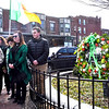 Wreath laying at the Irish American Memorial is L-R, Jim Haley, Kaelagh Haley and Tommy Peaslee 14. SUN/ David H. Brow