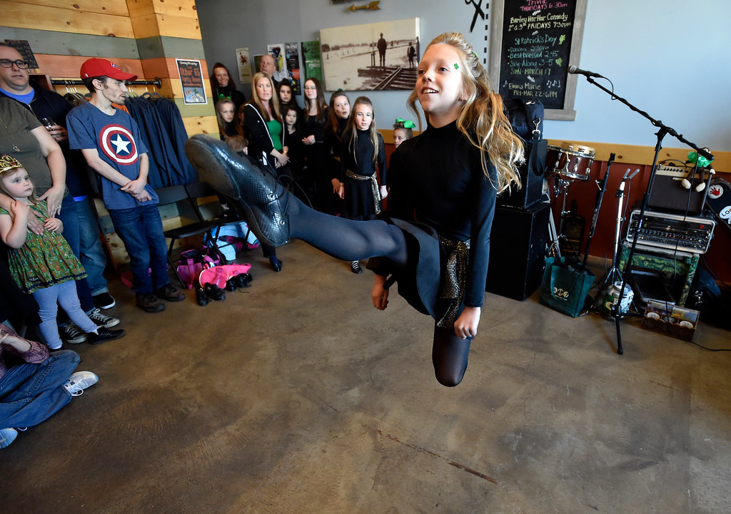 . LONGMONT, CO - MARCH 17, 2019: Moriarty Moffatt School of Dance performer Nuala Dougherty, 10, dances during a St. Patrick\'s Day celebration on Sunday at 300 Suns Brewing in Longmont. For more photos of the event go to dailycamera.com (Photo by Jeremy Papasso/Staff Photographer)