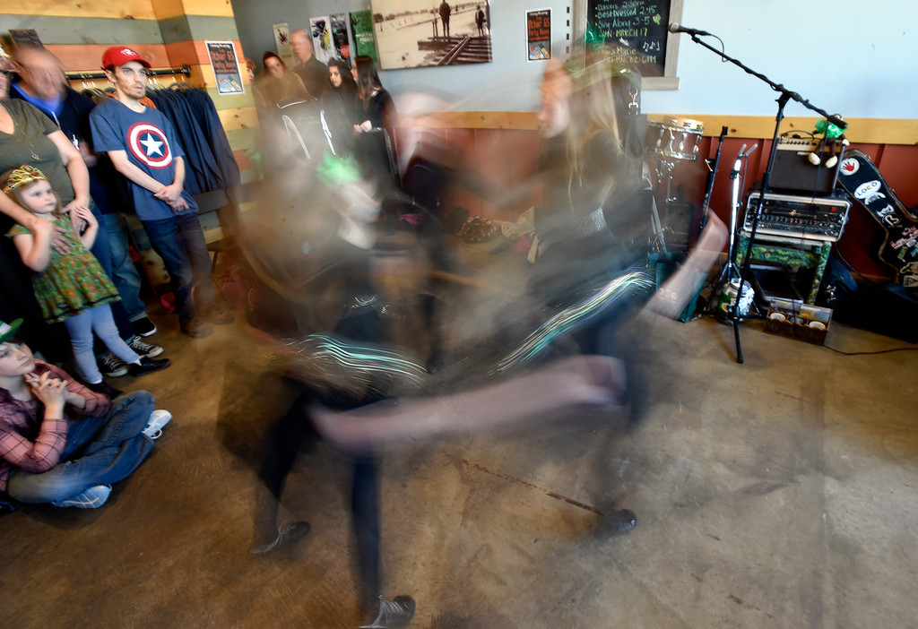 . LONGMONT, CO - MARCH 17, 2019: Moriarty Moffatt School of Dance performers during a St. Patrick\'s Day celebration on Sunday at 300 Suns Brewing in Longmont. For more photos of the event go to dailycamera.com (Photo by Jeremy Papasso/Staff Photographer)