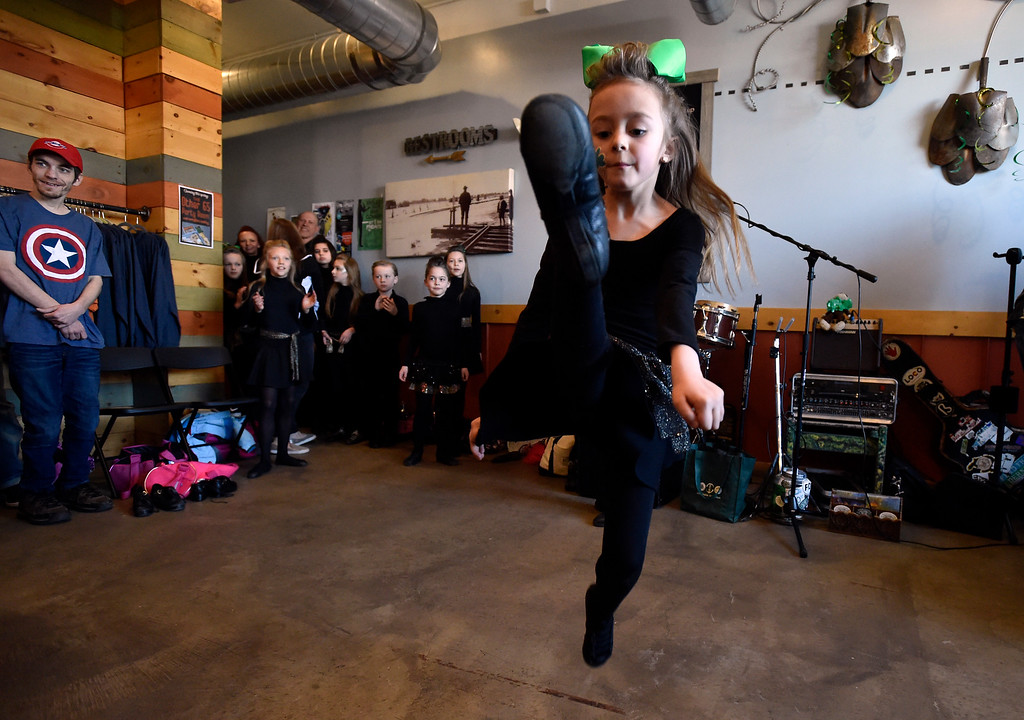 . LONGMONT, CO - MARCH 17, 2019: Moriarty Moffatt School of Dance performer Miquella, 7, dances during a St. Patrick\'s Day celebration on Sunday at 300 Suns Brewing in Longmont. For more photos of the event go to dailycamera.com (Photo by Jeremy Papasso/Staff Photographer)
