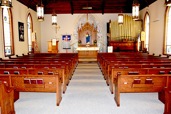 Sanctuary improvements made this year include freshly painted walls, flooring and new pews. Charles Mills photo