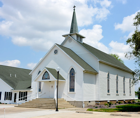 St. Paul Blue Point Lutheran Church as it looks today including the addition to the front of the church and addition of a parish hall attached to the north of the church. Charles Mills photo