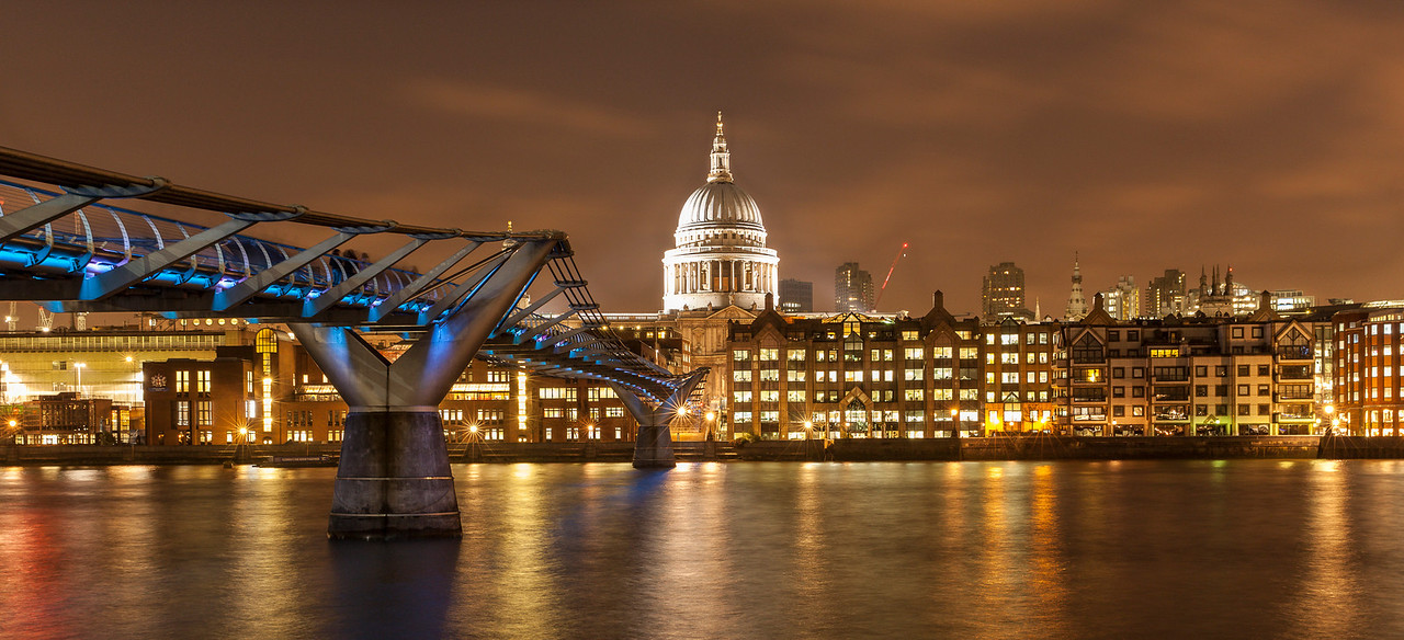 The Millenium Bridge and St Paul's Cathedral At Night