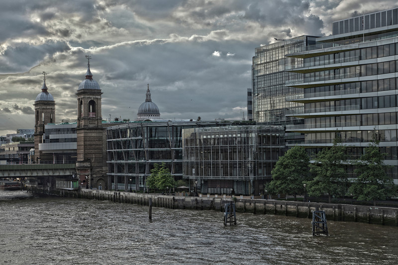 Blackfriars Power Station and St Paul's Cathedral in London, England