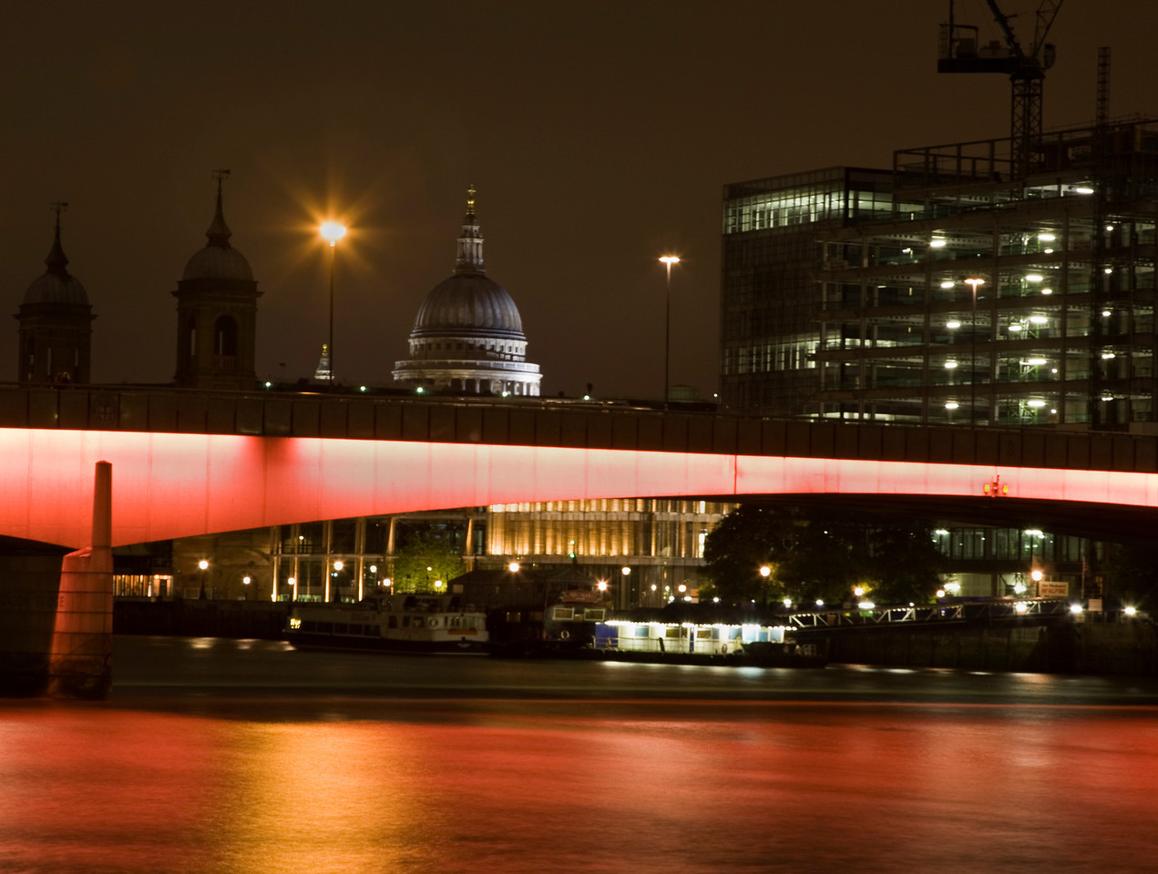 London Bridge at Night with Blackfriars and St Paul's Cathedral in the distance