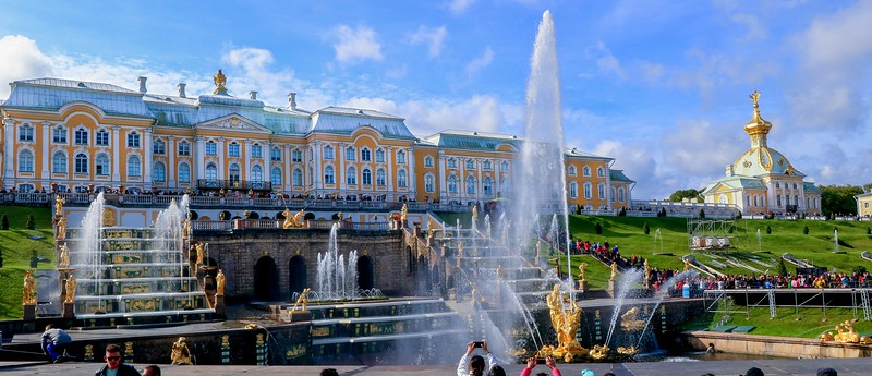 Backyard of Peterhof Palace, about a one hour drive from St. Petersburg.