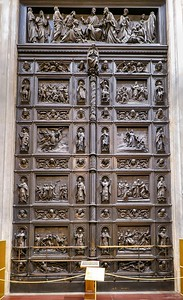 One of several bronze doors inside St. Isaac's cathedral, inspired by the exterior doors of the Baptistery in Florence, Italy.