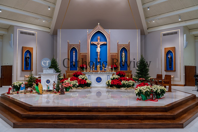 The new sanctuary features at St. Philip Neri Church in Linthicum Heights include a hand-crafted altar and ambo created by artisans in Lima, Peru, as well as reimagined statues by a professional artist, new steps and floor. (Kevin J. Parks/CR Staff)