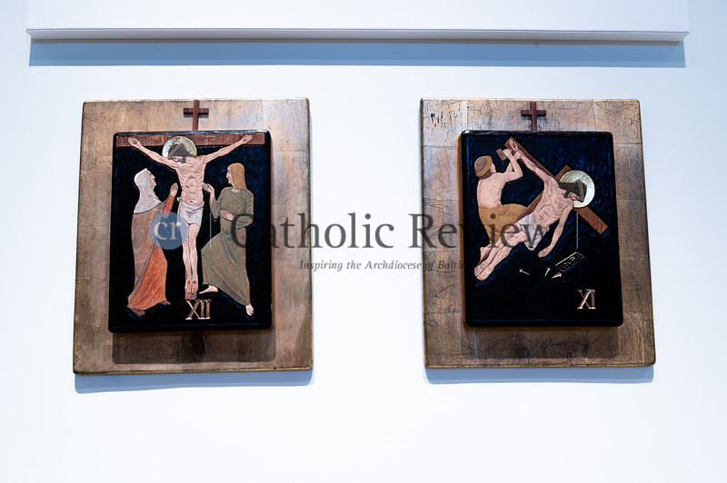 An artist refreshed St. Philip Neri Church, Linthicum Heights, original Stations of the Cross as if they were paintings; part of a $1.5 million renovation. (Kevin J. Parks/CR Staff)