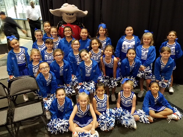 St. Pius X Cheer Squad with Ice Rays Mascot.
