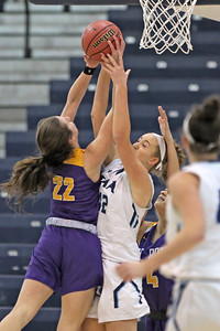 Brynn Farrell (left) strips Anna Morris of the ball as St. Rose High School takes Immaculate Heart Academy during the NJSIAA Non Public Group A girls basketball championship held at the RWJ Barnabas Arena in Toms River on Saturday March 9, 2019. (MARK R. SULLIVAN /THE COAST STAR)