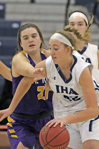 Maggie Stapleton (left) blocks the path of Anna Morris (right) as St. Rose High School takes Immaculate Heart Academy during the NJSIAA Non Public Group A girls basketball championship held at the RWJ Barnabas Arena in Toms River on Saturday March 9, 2019. (MARK R. SULLIVAN /THE COAST STAR)