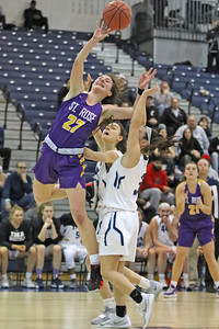 Brynn Farrell (left) gets past the Immaculate Heart defense  as St. Rose High School takes Immaculate Heart Academy during the NJSIAA Non Public Group A girls basketball championship held at the RWJ Barnabas Arena in Toms River on Saturday March 9, 2019. (MARK R. SULLIVAN /THE COAST STAR)
