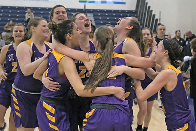 St. Rose High School celebrates their win over  Immaculate Heart Academy during the NJSIAA Non Public Group A girls basketball championship held at the RWJ Barnabas Arena in Toms River on Saturday March 9, 2019. (MARK R. SULLIVAN /THE COAST STAR)