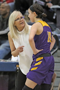 Coach Marybeth Chamber (left) talks with player Abigail Antognoli (right) during a time out as St. Rose High School takes Immaculate Heart Academy during the NJSIAA Non Public Group A girls basketball championship held at the RWJ Barnabas Arena in Toms River on Saturday March 9, 2019. (MARK R. SULLIVAN /THE COAST STAR)