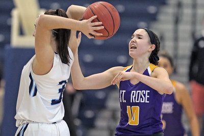Abigail Antognoli (right) strip the ball from Lauryn Mockler (left)  as St. Rose High School takes Immaculate Heart Academy during the NJSIAA Non Public Group A girls basketball championship held at the RWJ Barnabas Arena in Toms River on Saturday March 9, 2019. (MARK R. SULLIVAN /THE COAST STAR)