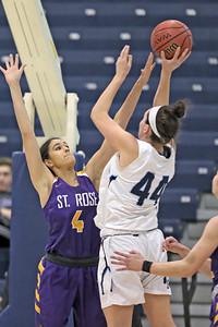 Samantha Mikos (left) gets a hand on the ball as Emma Matesic (right) tries to take the shot as St. Rose High School takes Immaculate Heart Academy during the NJSIAA Non Public Group A girls basketball championship held at the RWJ Barnabas Arena in Toms River on Saturday March 9, 2019. (MARK R. SULLIVAN /THE COAST STAR)
