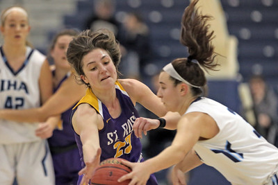 Brynn Farrell (left) strip the ball from a Immaculate Heart player as St. Rose High School takes Immaculate Heart Academy during the NJSIAA Non Public Group A girls basketball championship held at the RWJ Barnabas Arena in Toms River on Saturday March 9, 2019. (MARK R. SULLIVAN /THE COAST STAR)