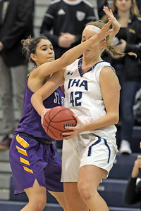 Samantha Mikos (left) defends Anna Morris as St. Rose High School takes Immaculate Heart Academy during the NJSIAA Non Public Group A girls basketball championship held at the RWJ Barnabas Arena in Toms River on Saturday March 9, 2019. (MARK R. SULLIVAN /THE COAST STAR)