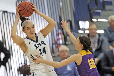 Abigail Antognoli (right) keeps Emma Matesic (right) from passing the ball as St. Rose High School takes Immaculate Heart Academy during the NJSIAA Non Public Group A girls basketball championship held at the RWJ Barnabas Arena in Toms River on Saturday March 9, 2019. (MARK R. SULLIVAN /THE COAST STAR)