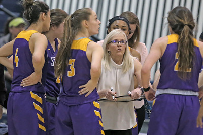 Coach MaryBeth Chambers talks with her team during a time out as St. Rose High School takes Immaculate Heart Academy during the NJSIAA Non Public Group A girls basketball championship held at the RWJ Barnabas Arena in Toms River on Saturday March 9, 2019. (MARK R. SULLIVAN /THE COAST STAR)