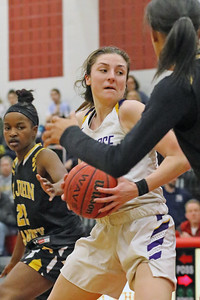 Brynn Farrell battles past St. John Vianney defenders as  St. Rose High School takes on St. John Vianney High School during the NJAISS South Jersey, Non-Public A girls basketball championship held at Jackson Liberty High School  on Tuesday March 5, 2019. (MARK R. SULLIVAN /THE COAST STAR)