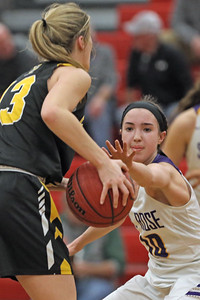 Abigail Antognoli (right) strips the ball from Sarah Karpell (left) as St. Rose High School takes on St. John Vianney High School during the NJAISS South Jersey, Non-Public A girls basketball championship held at Jackson Liberty High School  on Tuesday March 5, 2019. (MARK R. SULLIVAN /THE COAST STAR)