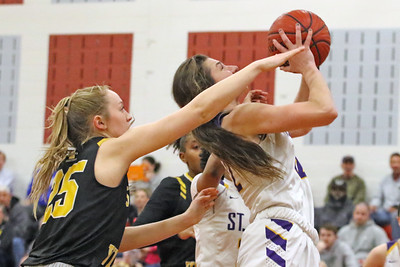Brynn Farrell  (right) battles past St. John Vianney defenders as  St. Rose High School takes on St. John Vianney High School during the NJAISS South Jersey, Non-Public A girls basketball championship held at Jackson Liberty High School  on Tuesday March 5, 2019. (MARK R. SULLIVAN /THE COAST STAR)