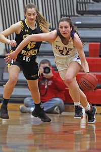 Brynn Farrell (right) gets the ball up court as St. Rose High School takes on St. John Vianney High School during the NJAISS South Jersey, Non-Public A girls basketball championship held at Jackson Liberty High School  on Tuesday March 5, 2019. (MARK R. SULLIVAN /THE COAST STAR)