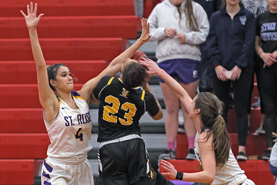 Samantha Mikos (left) and Brynn Farrell (right) corral Sajada Boanner (center) as  St. Rose High School takes on St. John Vianney High School during the NJAISS South Jersey, Non-Public A girls basketball championship held at Jackson Liberty High School  on Tuesday March 5, 2019. (MARK R. SULLIVAN /THE COAST STAR)