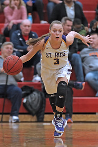 Lauren Lithgow brings the ball down court as St. Rose High School takes on St. John Vianney High School during the NJAISS South Jersey, Non-Public A girls basketball championship held at Jackson Liberty High School  on Tuesday March 5, 2019. (MARK R. SULLIVAN /THE COAST STAR)