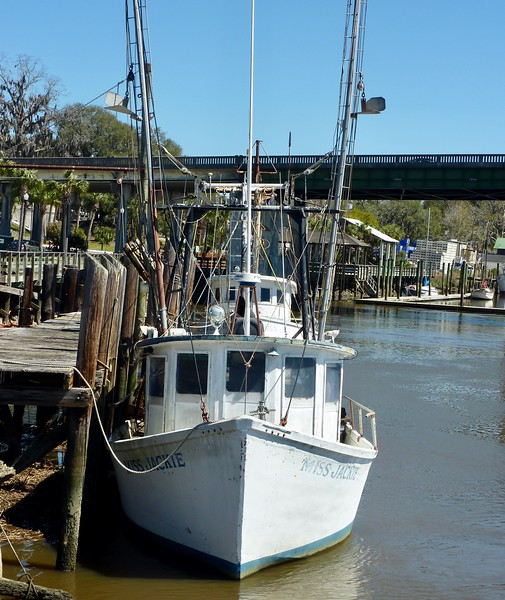 Close up of shrimp boat at wharf in Darien, GA
