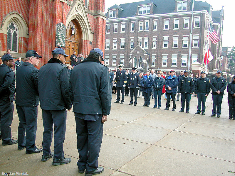 Police and Fireman stand in honor