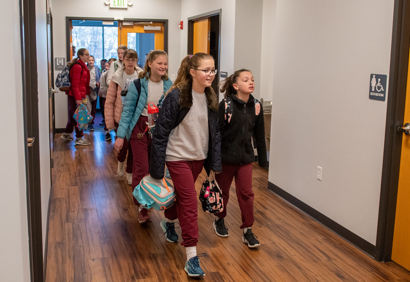 St. Stephen's School, Bradshaw, six through eighth grade students move into their new addition January 2, 2020. (Kevin J. Parks/CR Staff)