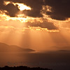Early morning sun rays over St. John, USVI